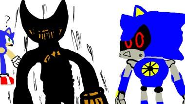 Metal Sonic meets Ink Bendy